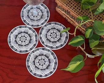 Black Set of 4 coasters with Hand drawn Mandala art, One of a kind gift for him or her, Drink Coasters set