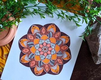 Boho Mandala Wall Art |  Terracotta & Brown color Ready to frame decor | Earth Toned Original Art
