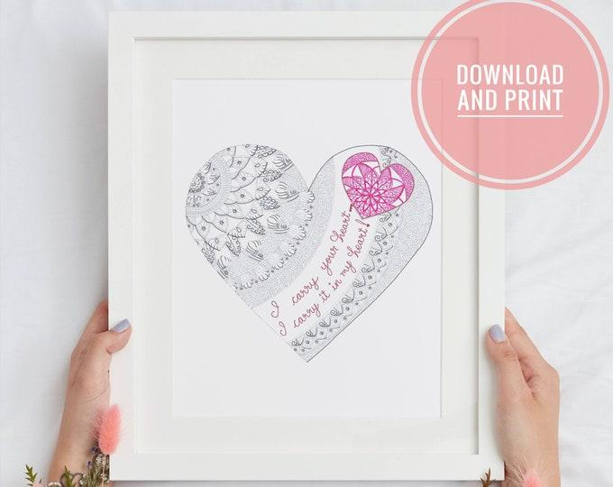 Heart Printable Wall Art, Minimalistic Mandala home decor