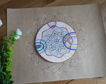 Abstract Floral Mandala with Rainbows on Brown Kraft paper, 3D Boho Wall Art, Ready to frame Spring Decor, Handmade artwork