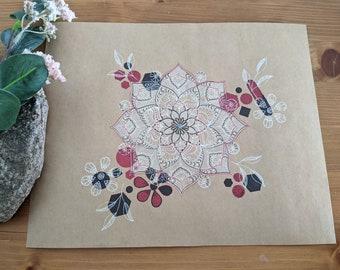 Abstract Floral Mandala Illustration on Brown Kraft paper, Boho Wall Art, Ready to frame Spring Decor