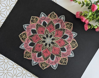 Black & Gold Mandala Art Print | Zentangle Wall Art | Ready to frame Original Art