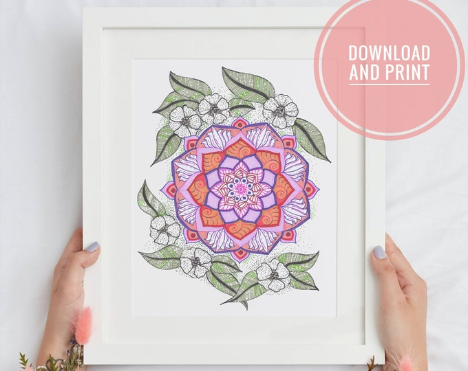 Floral Fusion Printable, Abstract Flowers themed mandala, Horizontal or Vertical wall decor