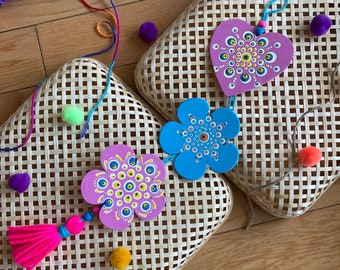 Pink and Blue handpainted mandala wall hanging, One of a kind living room nursery decor