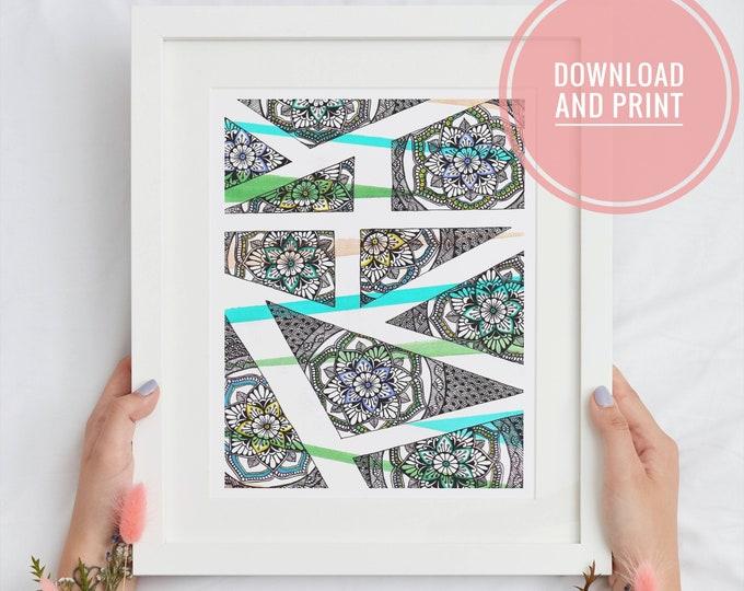 Geometric Mandala Printable Wall Art, Abstract Floral bloom print