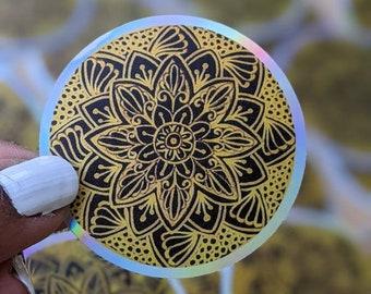Black and Gold Mandala sticker, Holographic design, Waterproof laptop vinyl sticker