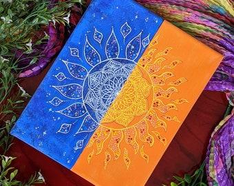 Sun and moon wall art, Boho Mandala Decor, Symmetry Art on Canvas 8x10, Original Handmade painting
