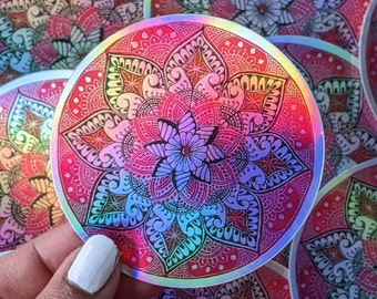 Pink Mandala sticker | Handmade Waterproof Sticker | Holographic