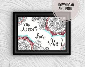 "Original Art- Red Mandala |  ""C'est la Vie"" | Printable Wall Art"