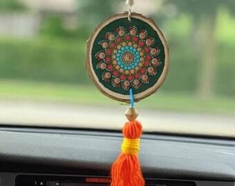 Dark Green Boho Car Charm, Rear View Mirror Hanging with Orange Tassel