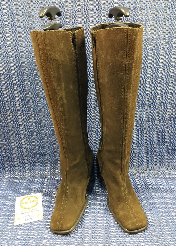Vintage Boots 90s Suede boots Womens leather boots