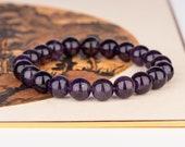 Dark Purple Amethyst Bracelet, 10mm Grade A Natural Amethyst Beaded Gemstone Bracelet, Purple Amethyst, Healing Bracelet,February Birthstone