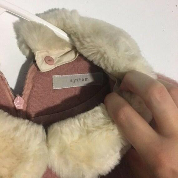 Adorable Pink Wool Peter Pan Fur Collar 1960s/70s… - image 4