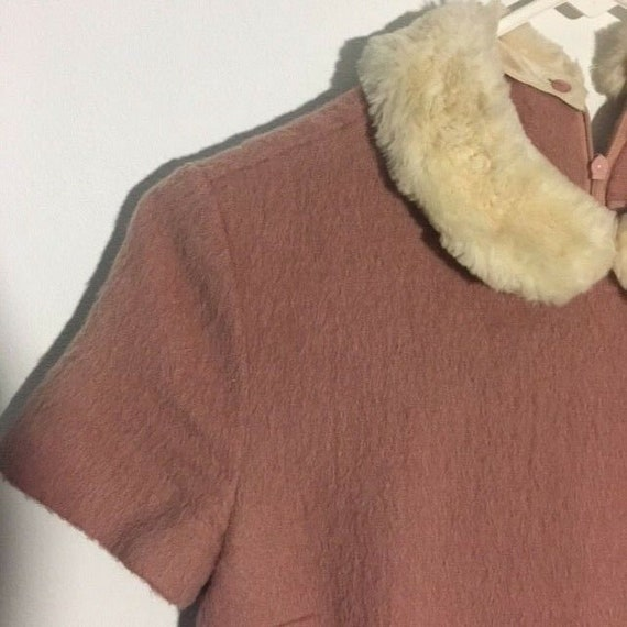 Adorable Pink Wool Peter Pan Fur Collar 1960s/70s… - image 3