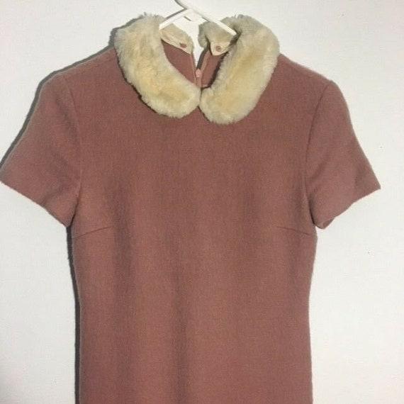Adorable Pink Wool Peter Pan Fur Collar 1960s/70s