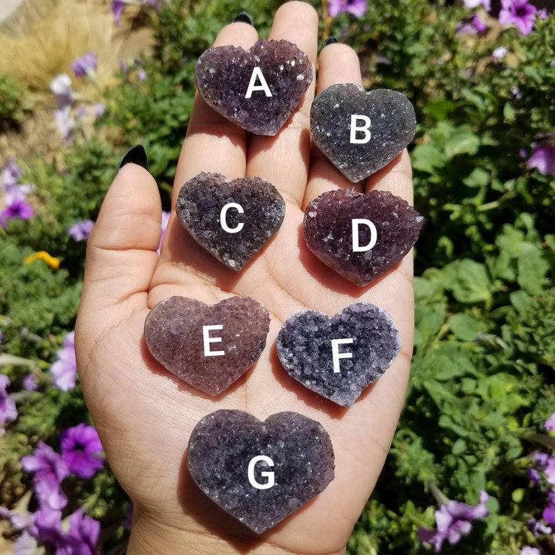 Mini Druzy Rainbow Amethyst Heart Choose your own amethyst heart
