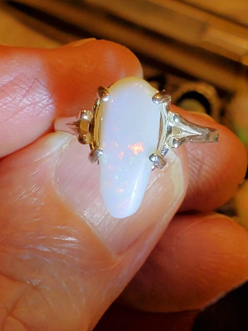 fire opal Australian white opal ring opal ring size 7.5 tombstone shaped natural opal authentic opal