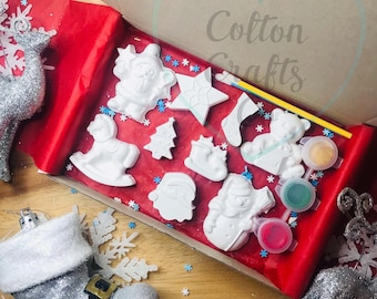 Paint your own Small Christmas craft box, christmas gifts for kids, stocking fillers, christmas eve box fillers, Christmas activities