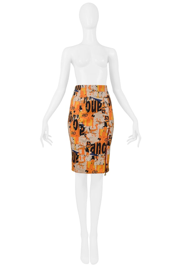 Vintage Dior By John Galliano Orange Logo Print Pe