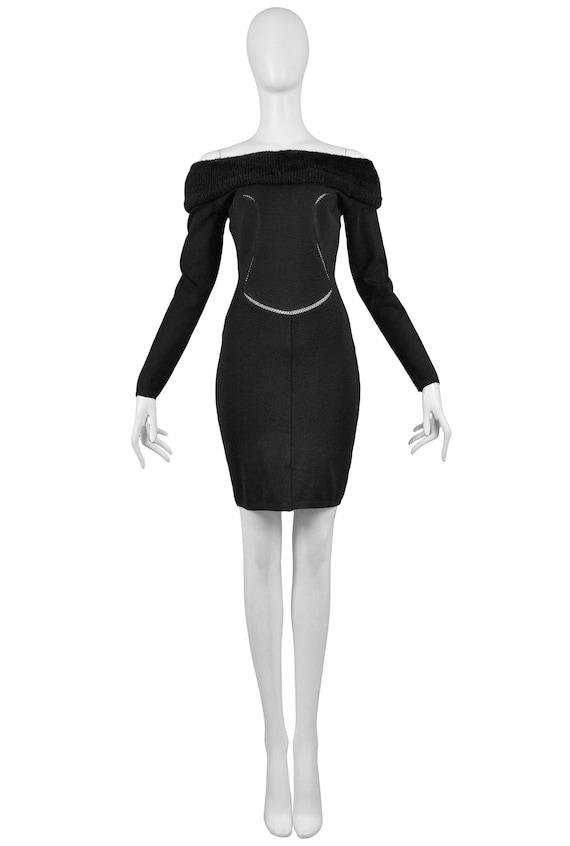 Alaia Black Cold Shoulder Body-con Dress 1991