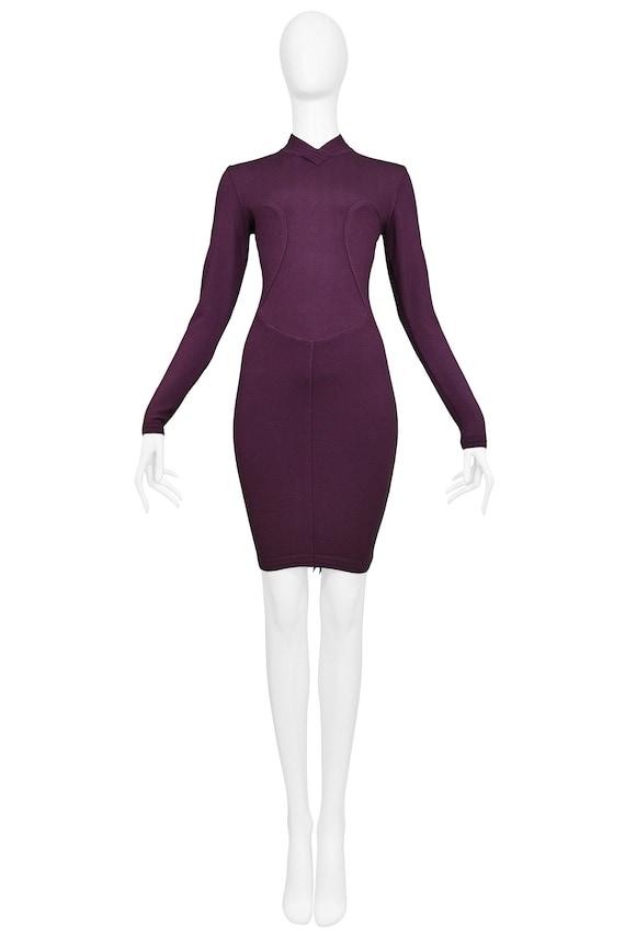 Vintage Alaia Purple Long Sleeve High V Neck Dress
