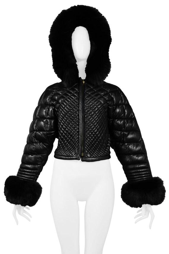 VERSACE BLACK LEATHER & fur puffer jacket 1992