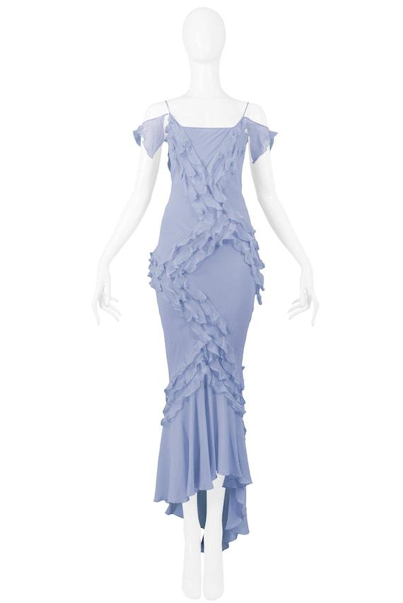 Vintage John Galliano French Blue Silk Chiffon Ruf