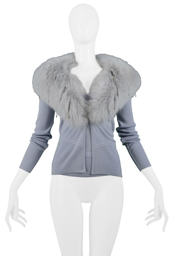 VERSACE POWDER BLUE cardigan with matching camisol