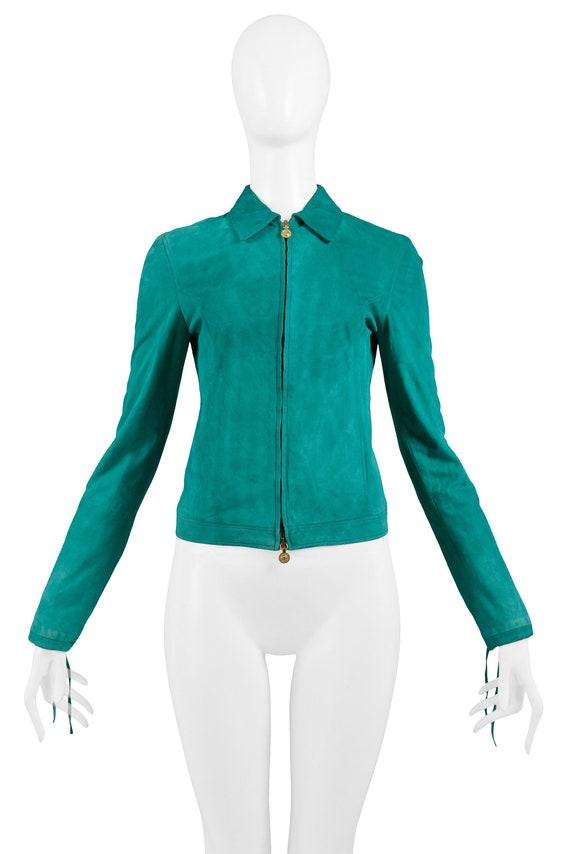 VERSACE GREEN SUEDE jacket