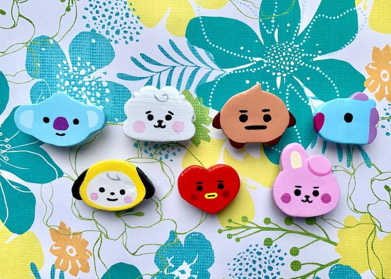 polymer clay brooch BTS Bt21 baby handmade clay pins