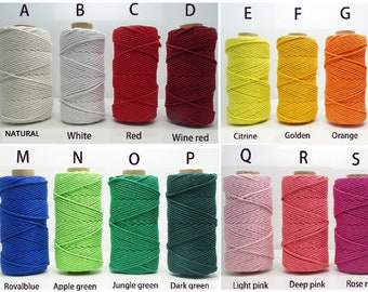 Macrame cord 4mm 4 strands 300 Feet cotton rope natural cotton macrame rope 4 strand