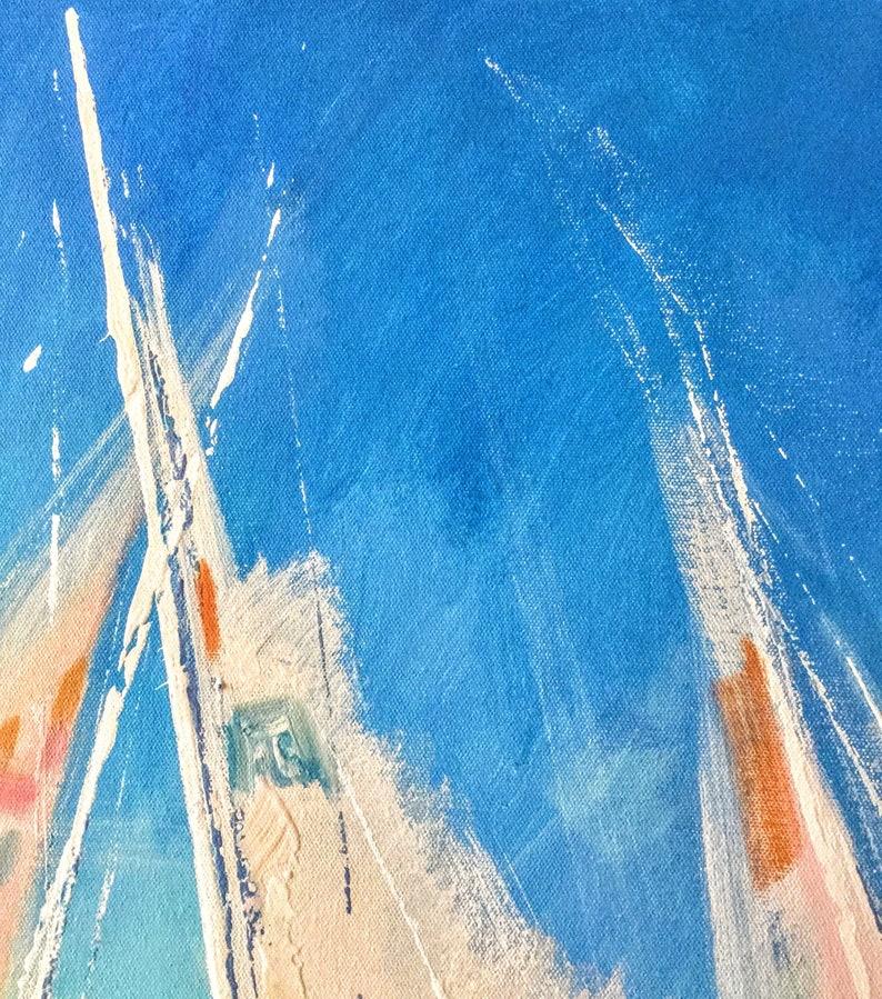 California Seascape Sailboats Original Painting Abstract Art Impasto Oil Canvas 2420 inches Made to order Artist Natalia ArtSistersArt
