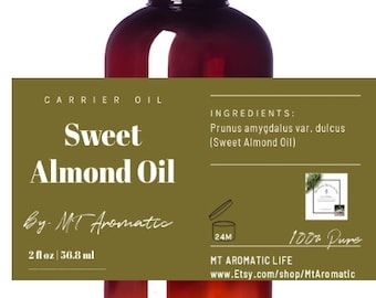 Sweet Almond Carrier Oil -100% Pure Almond Oil -Therapeutic, Softens, Reconditions the skin -Aromatherapy, Natural Beauty, Skincare