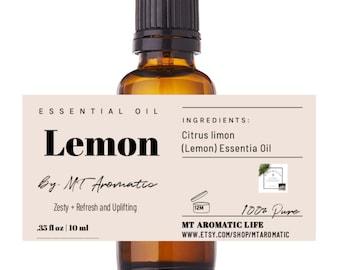 Lemon Organic Essential Oil - 100% Pure Lemon Oil -Therapeutic grade, refreshing, energizing, uplifting -Aromatherapy, Natural Skincare