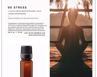 DE STRESS Diffuser Blend - Aroma Diffuser-Stress Release Gift-Pure Essential Oils-Natural Remedies for calm and relaxation