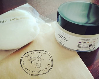 Luxurious Natural Body Powder, Dusting Powder (with Soft Puff) -Lavender or Citrus Scented -Absorb moisture, Refreshing -Talc Free, Vegan