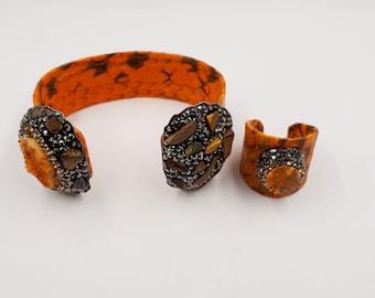 Orange Multi-strand Women/'s Leather Cuff Bracelet Stocking Stuffer