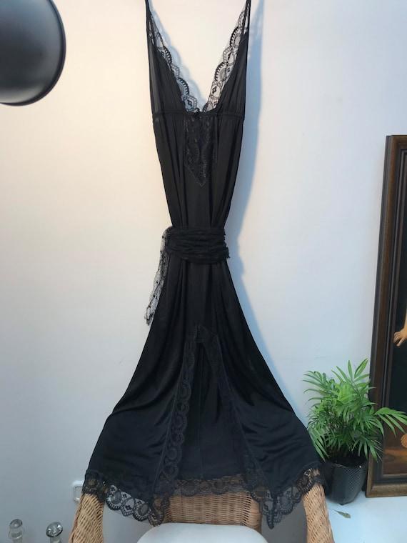 1990's Black Long Lace Satin Dress Slip