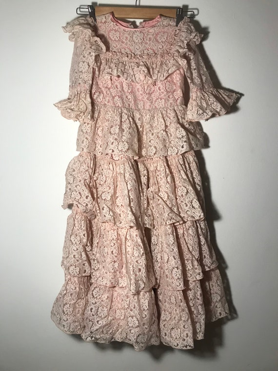 Vintage 1940's Girl's Pastel Pink Lace and Silk Dr