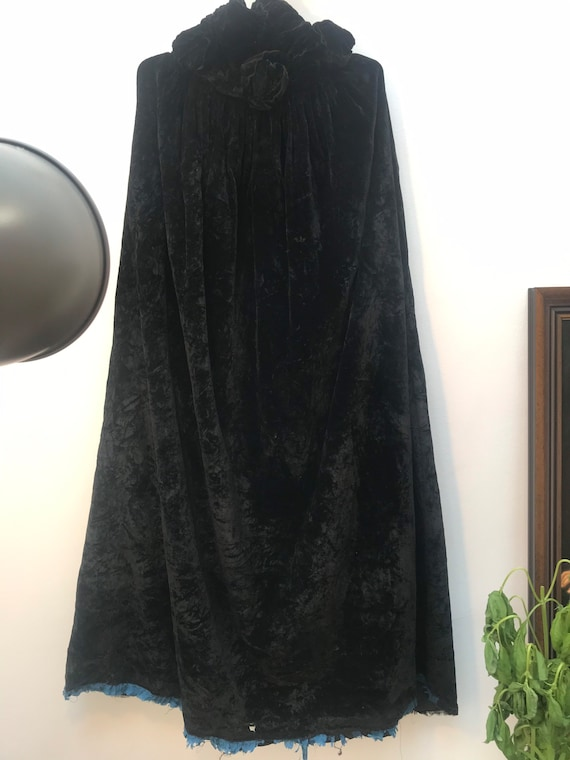 English 1930's Velvet Cape with Rose