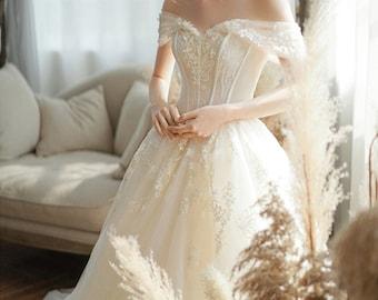 Off The Shoulder Wedding Dress Etsy