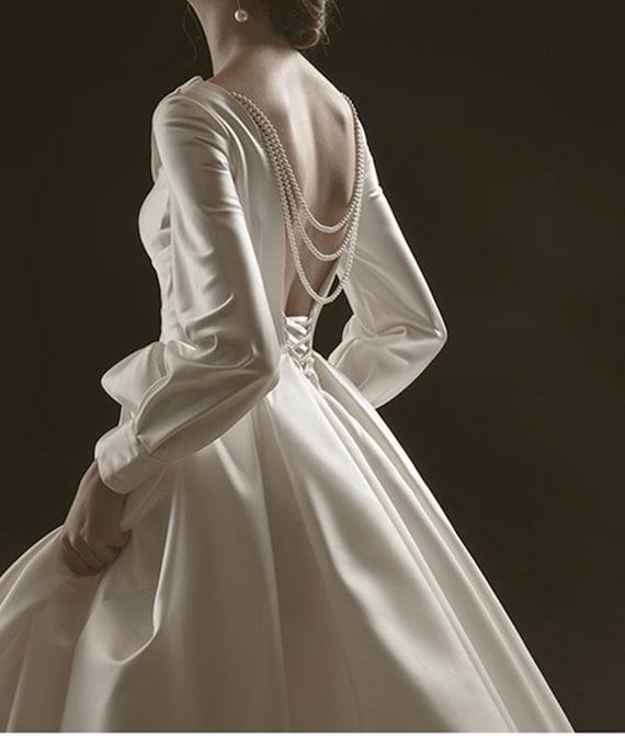 Vintage Bridal Wedding Dress Minimalist Satin Wedding Dress Etsy