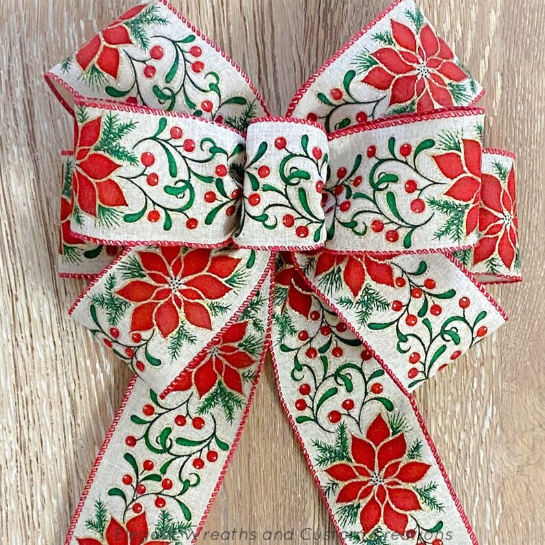 Lantern Bow Poinsettia Wire Ribbon Red Green Christmas Wreath Bows Poinsettia Christmas Bows Bow for Wreaths Farmhouse Bow Wreath Bows