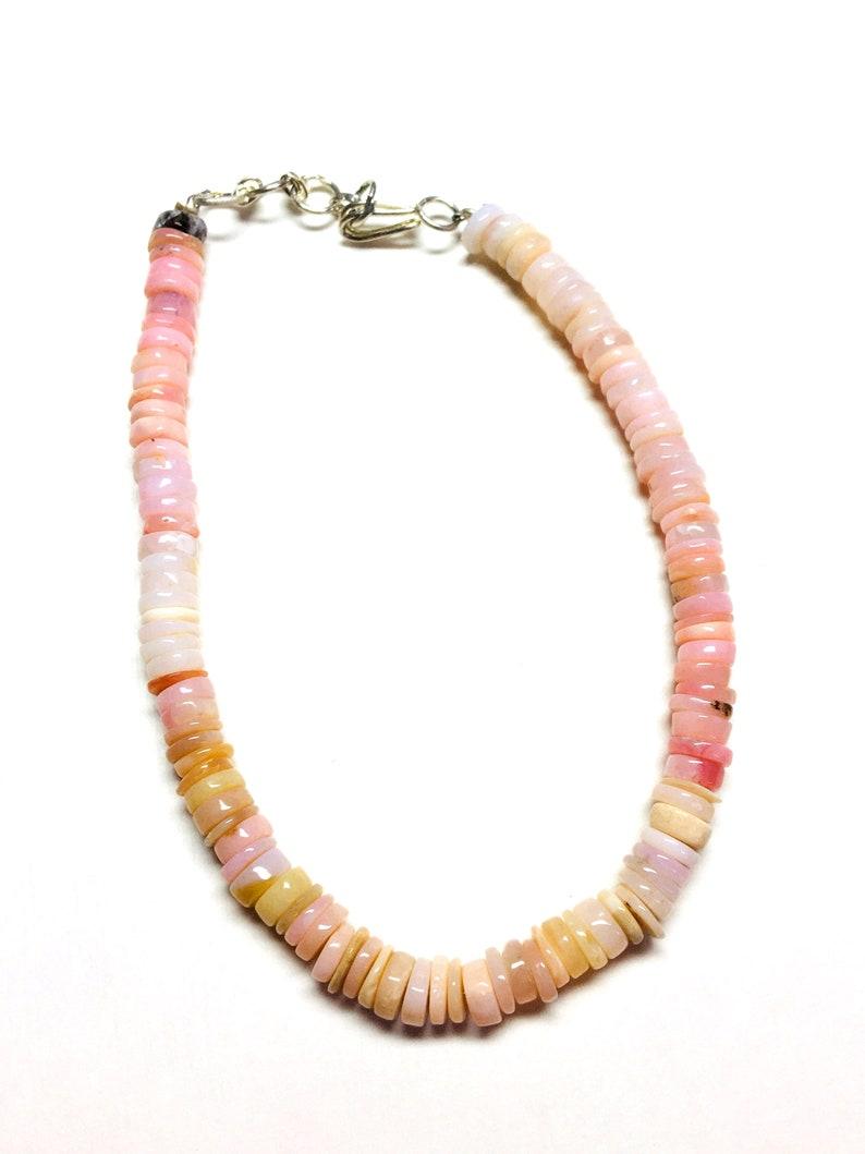 Bracelet 8 inch Long AAA Quality Pink opal Opal Heishi Spinel Tyre Beads Wheel Shape 4-5MM Pink Opal smooth loose gemstone
