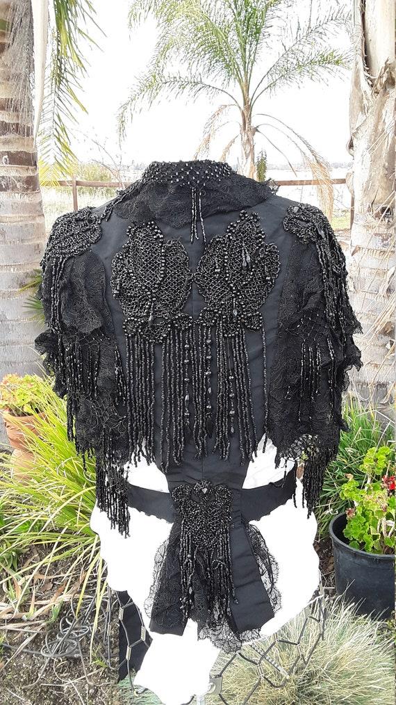 BEAUTIFUL 1860's mourning shawl || Beaded Victoria