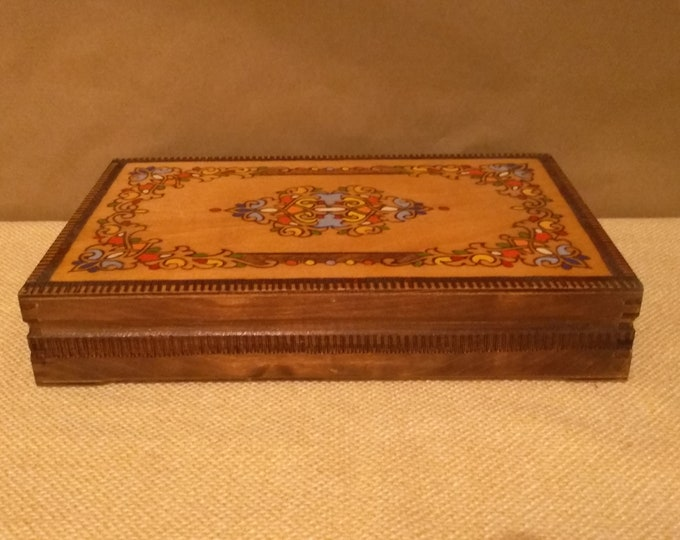 Retro box Vintage Pyrography box Vintage handmade wooden box Memory Box Vintage wooden  box