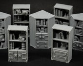 Set of 7 book shelves - props for miniature table top dnd gaming