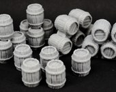 Nine Piece Wooden Barrel Set - props for miniature tabletop dnd gaming