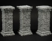 Stone Pillar 3x - props for miniature table top dnd gaming