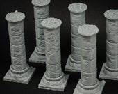 Cylindrical Stone Pillars x6 - props for miniature tabletop dnd gaming